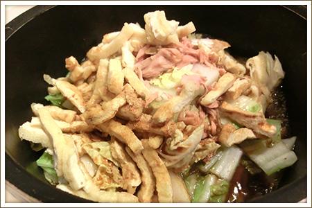 「ツナと白菜とうす揚げのさっと煮」制作画像