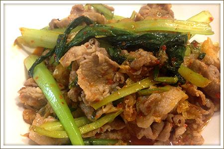 小松菜キムチ豚