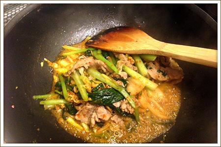 「小松菜キムチ豚」制作画像