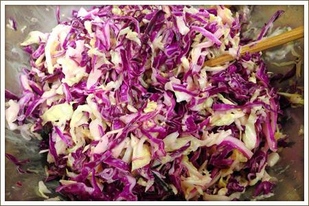 「紫キャベツのポテトサラダ」制作画像